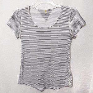 Lucy Workout Tee Top Small Black White Striped Sho